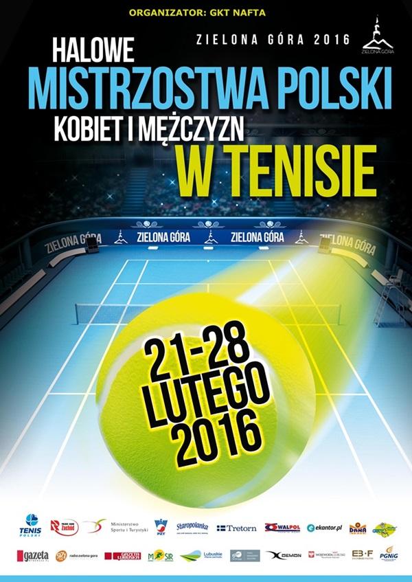 Plakat Mistrzostw Polski Kobiet i Mężczyzn w Tenisie